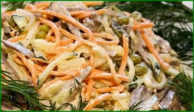 Салат из языка с морковью по-корейски