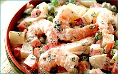 Легкие салаты из морепродуктов